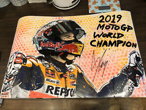Signed 2019 Marc Marquez World Champion Graffiti Original Artwork. Proof