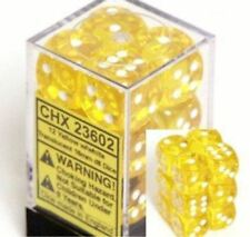 Chessex Dice d6 Sets Yellow w/ White Translucent 16mm Six Sided Die 12 CHX 23602
