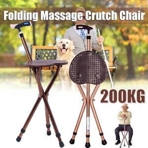 Non-slip Tripod Folding Cane Walking Stick Chair Portable Seat Stool Elderly Ai