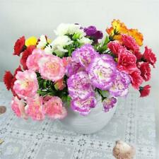 11 Heads Artificial Carnation Fake Silk Flower Bouquet Wedding Home Plant Decor#