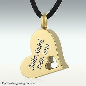 Perfect Memorials A Piece Of My Heart Gold Stainless Steel Cremation Jewelry
