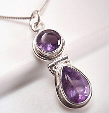 Amethyst Faceted Double Gem 925 Sterling Silver Pendant Corona Sun Jewelry