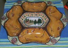 "ZRIKE Danna Cullen VINTAGE CABIN Large chip & dip platter ~15.75""x12"" pine cones"