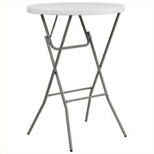 Flash Furniture Round Granite Bar Height Folding Table in White