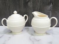 Wedgwood Creamer and Sugar Bowl with Lid Windsor Round Ribbed England