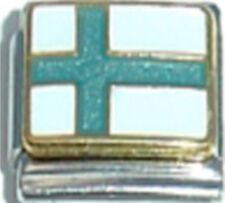 FINLAND FINNISH FLAG Ceramic Italian Charm 9mm - 1 x PQ016 Single Bracelet Link