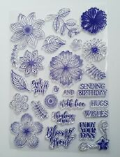 Flowers, Leaves, Sentiments Clear Stamp Set - Large Sheet of Stamps