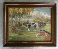 Eva Rosenstand Horses in the Meadow Large Completed Framed Cross-Stitch 12-532