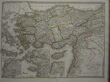 1850 SPRUNER ANTIQUE HISTORICAL MAP ~ ASIA MINOR CYPRUS CRETE TROY AEGEAN SEA