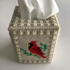 Vintage Crochet Cardinal Bird Boutique Tissue Box Cover Plastic Ivory Handmade