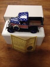 THE NATIONAL MOTOR MUSEUM MINT DIE CAST 1931 FORD MODEL-A PICK UP TRUCK W/ FLAG