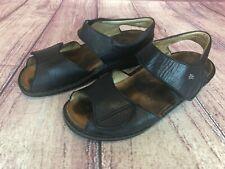 Finn Comfort Women's 37 / 6-6.5 Black Leather Ankle Strap Comfort Sandals 45w