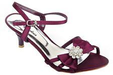 Satin Purple Diamante Mid Heel Wedding Sandals Bridal Prom Shoes
