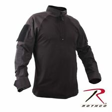 Black Military 1/4 Zip Heat Resistant Tactical Combat Long Sleeve Shirt 99010,XL