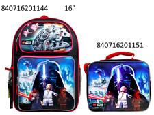 "Lego Star Wars 16"" Popup 3D Applique  School BackPack & Lunch Bag Set"