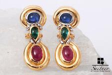 Ohrstecker Saphir Smaragd Rubin 750 Gold