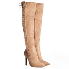Womens Ladies Faux Fur Over The Knee High Heel Lace Thigh BOOTS Shoes Size 2-7 UK 7 Beige