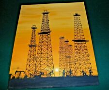 "Oil drilling Rig  16"" X 20"" ART PAINTING         Oil Drilling Rig Oil Field"