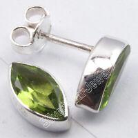 925 Sterling Silver Peridot Stud Post Earrings Women's New Jewelry