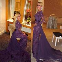 Purple Lace Beads Evening Dress Arabic Muslim Mermaid Prom Gown with Train Skirt