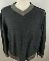 Carbon 2 Cobalt Men's V Neck Wool Rabbit Blend Heather Gray Sweater Sz XL S4