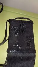 Vintage Black Sequence Beaded Flapper Evening Bag Clutch Purse Formal