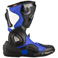 Motorradstiefel Racing Boots Leder Touringstiefel schwarz blau weiß Gr. 40 - 47