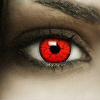 Farbige Halloween Kontaktlinsen Devil rot rote ohne Stärke Crazy Fun Linsen