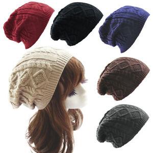 Fashion Womens Warm Knit Crochet Baggy Hat Slouchy Twist Solid Color Beanie Cap