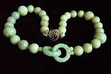 "Vintage Chinese Jadeite Jade Sterling Amethyst Necklace 20 1/2"" Heavy 156.2 g"