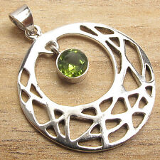 925 Silver Overlay Fiery Green PERIDOT Pendant 3.9 cm inches Cool Girls Fashion