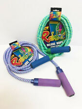 New 7 foot Deluxe Green or Purple Weave Rainbow Children's Jumping Jump Rope