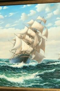 A Huge Oil Painting On Canvas Of A Square Rigged Ship.