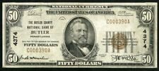 US Paper Money 1929 $50 National Currency Butler PA #4374 NO RESERVE!