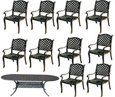 11 piece cast aluminum dining set outdoor patio furniture Nassau table chairs