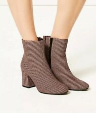 M&S Tweed Houndstooth Check Pattern Standard Fit Ankle Boots Sz 4.5