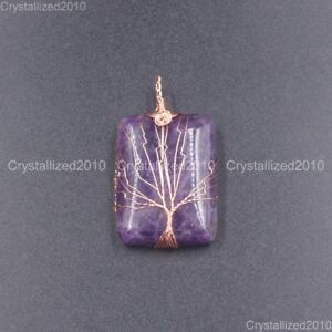 Natural Gemstones Tree Life Rectangle Reiki Healing Pendant Beads Rose Gold 18K