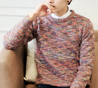 Winter Men Boy Korean Knitted Sweater Coat Multicolor Clothes Tops Shirts Casual