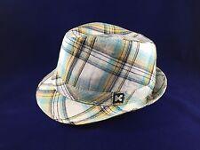 Kenny K. Fedora Hat Summer Plaid 100% Cotton White Blue Turquoise Yellow Black