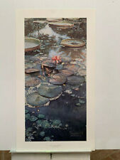 Steve Hanks WATER LILIES IN BLOOM SIGNED NUMBERED S/N Never framed! 21X36