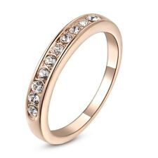 Eternity Classic Band Rose Gold Plated Ring Crystal Engagement Wedding Gift