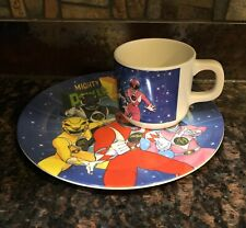 Vintage Mighty Morphin Power Rangers MMPR Cup And Plate SET