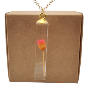 Pink Happy Daisy Real Flower Cube Resin Pendant 18k Gold Plated Necklace Women