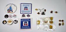 Lot 28 Vtg Lapel Pin Back Button Olympics / Disney / Hard Rock / Ramones / RNC