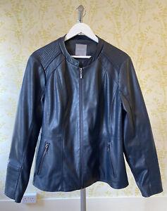 PRINCIPLES navy blue faux leather biker jacket UK 18 hardly worn, collarless