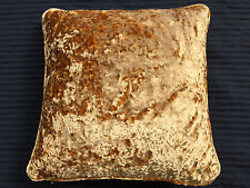 Gold Crushed Velvet Self Piped Cushion Cover 40cm x 40cm