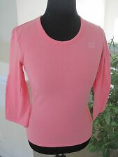 ST JOHN LOT OF BRIGHT WHITE AND CORAL LOGO PULLOVER TOPS, SIZE P AND S