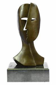 Art Deco Modern Art Faces by Picasso Bronze Sculpture Marble Base Figurine Decor