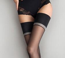 Bas sexy nylon noir autofixant femme jarretière satinée opaque FIORE DIVINE T2