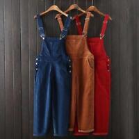 Retro Womens Casual Corduroy Suspender Overalls Pants Jumpsuits Trousers Ladies